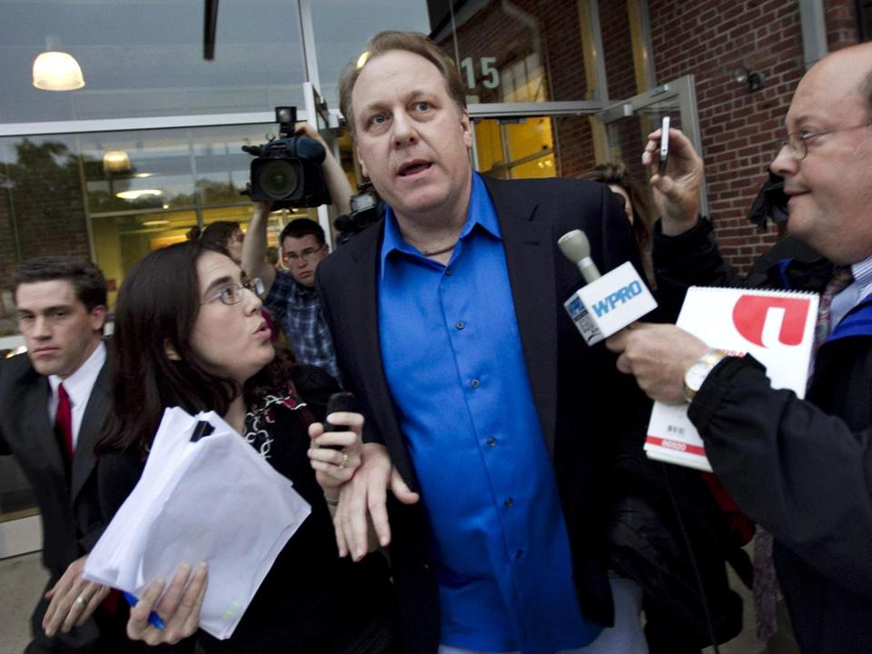 Former Red Sox pitcher Curt Schilling is used to having a microphone in front of him.