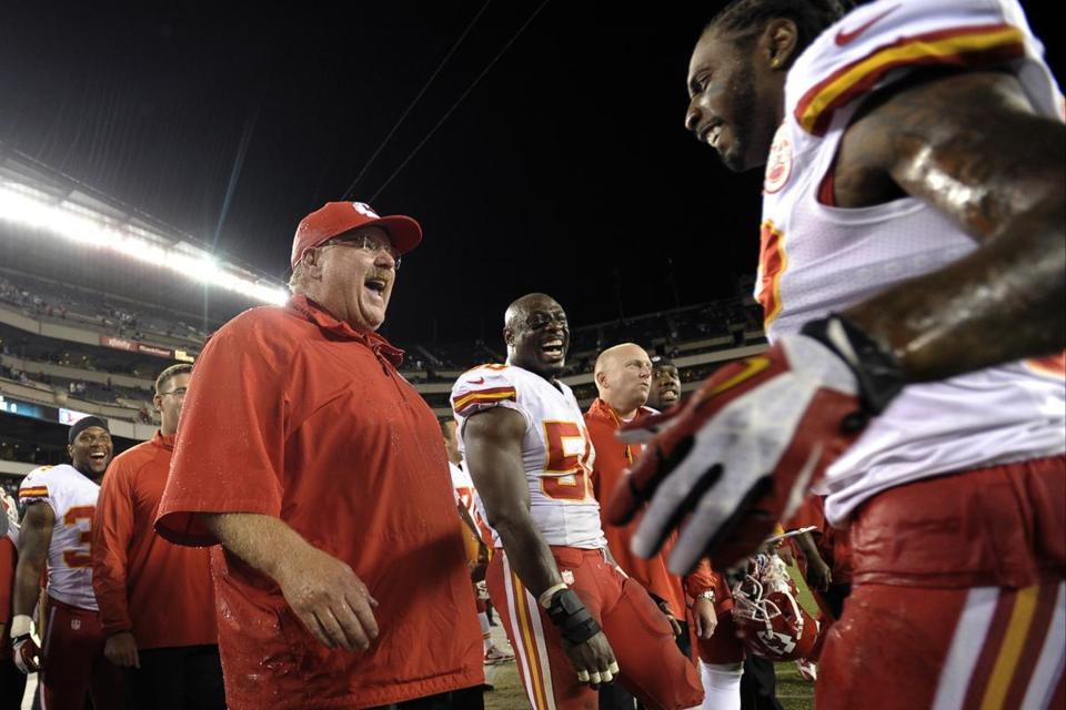 Andy Reid sports a huge smile after being doused with Gatorade after his Chiefs defeated his former club, the Eagles.