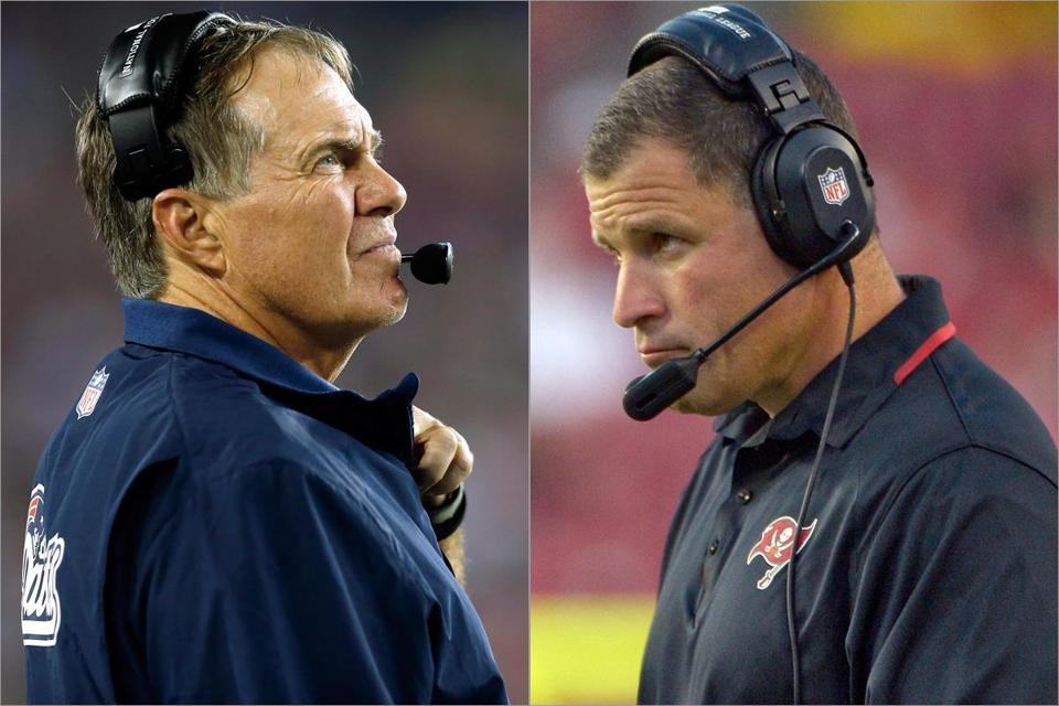 Bill Belichick (left) and Greg Schiano have squared off twice in the preseason.