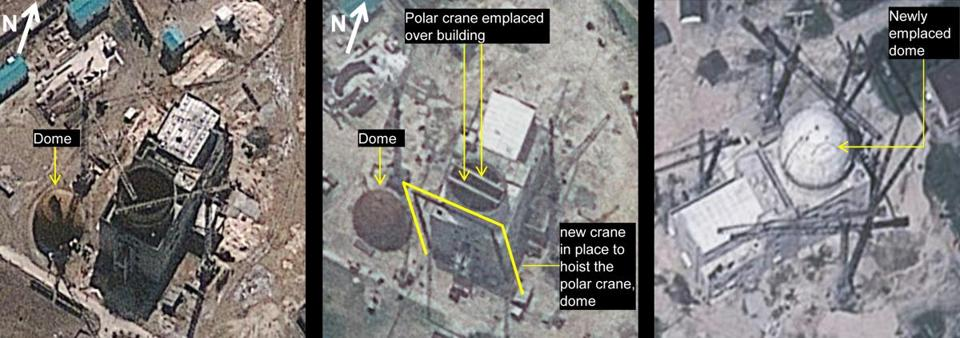 Satellite images (from left) on March 20, June 24, and Aug. 6 in 2012 show construction at Yongbyon Nuclear Scientific Research Center in North Korea. The United States and other nations worry that North Korea is closer to mastering all facets of nuclear production.