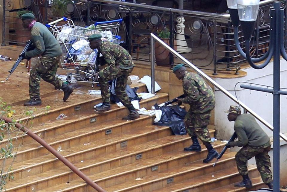 Kenya Defence Forces soldiers took their position at the Westgate shopping centre on the fourth day of the standoff.