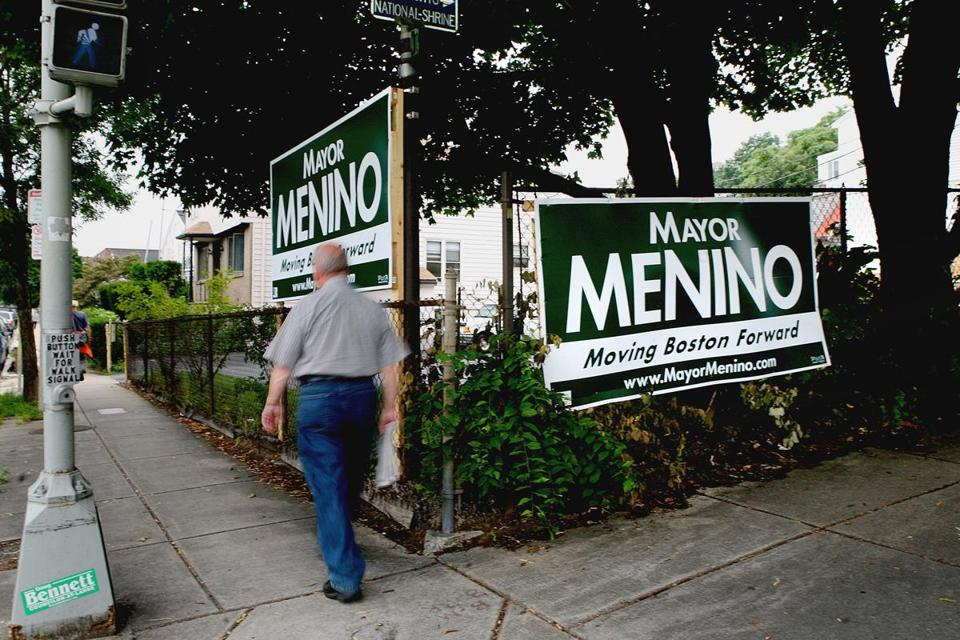 None of the fledgling vote-wrangling apparatuses compares with the 20-year-old voter engine maintained with such care by the outgoing mayor, Thomas M. Menino, who was invulnerable on Election Day. These signs were from his last campaign, in 2009.