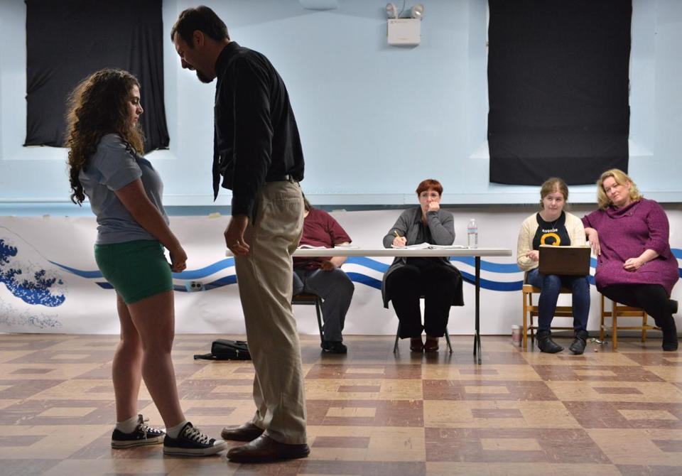 Actors Nicki Morris and Mike Haddad work on a scene.