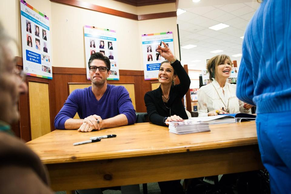 "From left: ""Days of Our Lives"" cast members James Scott, Kristian Alfonso, and Lauren Koslow at Barnes & Noble."
