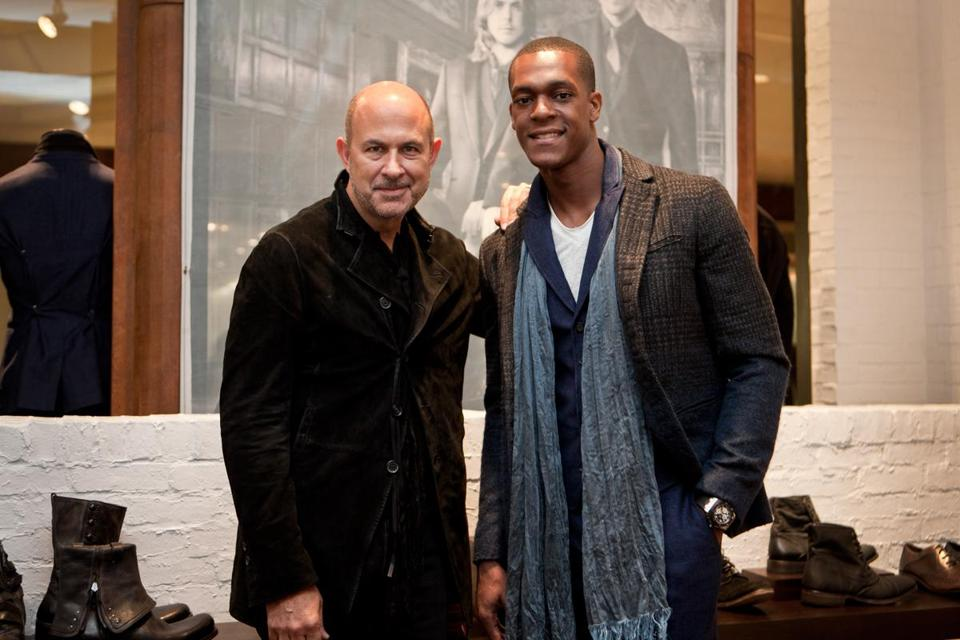 John Varvatos (left) and Rajon Rondo at the designer's party in Copley Place.