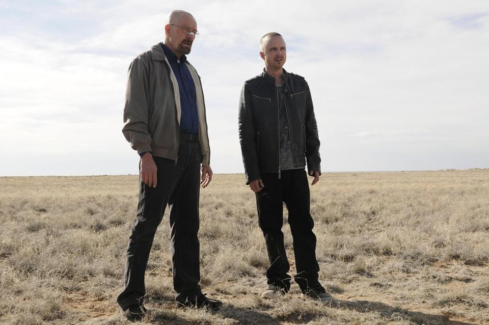 "Bryan Cranston (left) and Aaron Paul in ""Breaking Bad."""