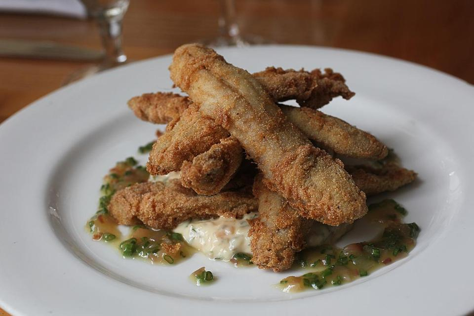 Fried alewives with ramp remoulade and vinaigrette at Lumiere.