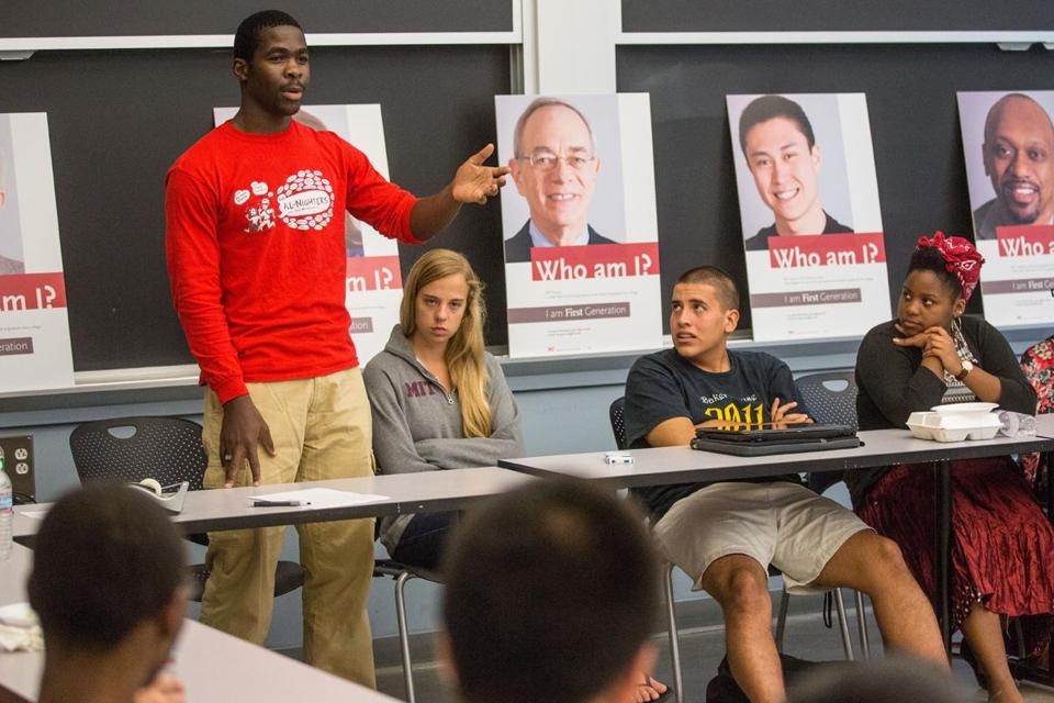 Fidelis Chimomb of Zimbabwe spoke during a First Generation Project event at MIT.