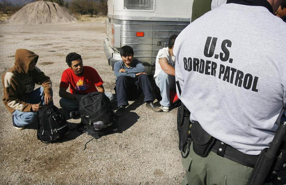 The US Border Patrol detained a group of immigrants in Sasabe, Ariz., in January 2007.