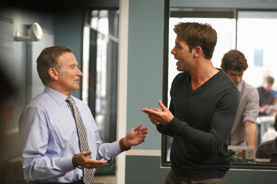 "James Wolk (right) with Robin Williams in ""The Crazy Ones. He played Bob Benson on that other ad agency show, ""Mad Men."""