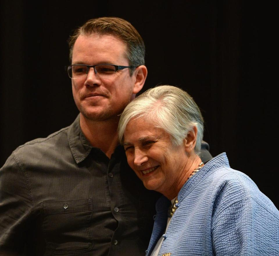 Matt Damon introduced education historian and activist Diane Ravitch as part of the Education on the Edge Lecture Series at California State University Northridge on Wednesday.