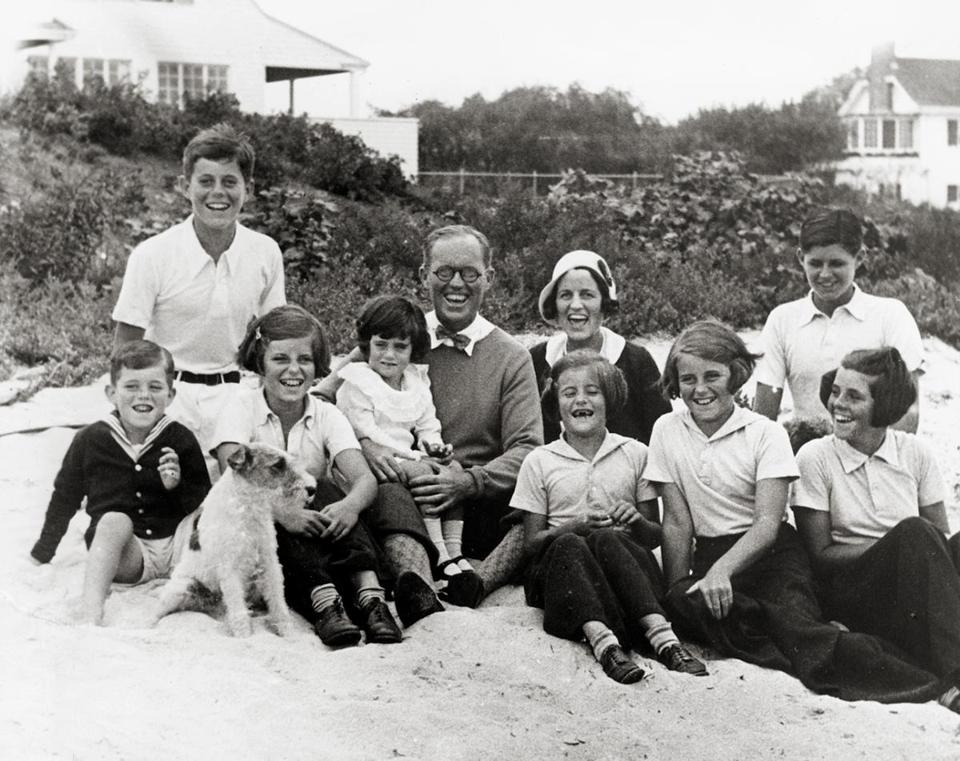 From left: Bobby, Jack, Eunice, Jean, Joe, Rose, Pat (in front of Rose), Kathleen, Joe Jr., and Rosemary on the beach in Hyannis Port, September 4, 1931.