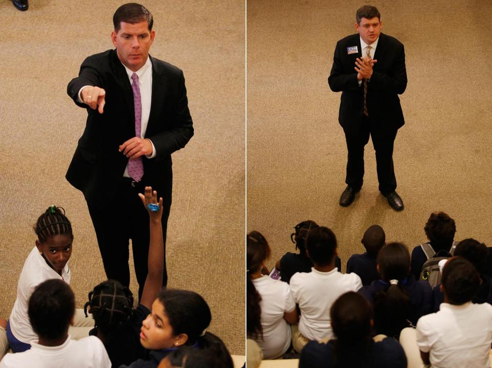 Boston mayoral candidates Marty Walsh (left) and John Connolly talked with sixth graders from Orchard Gardens Middle School on Wednesday about running for public office.