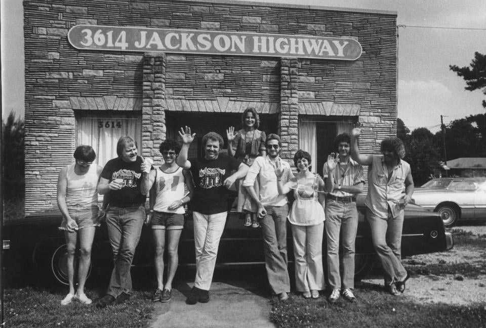 The backup musicians (above) of Muscle Shoals Sound Studios, where greats such as Clarence Carter, Aretha Franklin, and Gregg Allman recorded.
