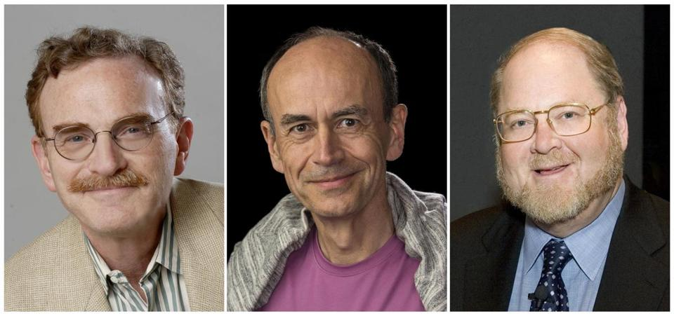 Nobel Prize winners (from left): Randy Schekman of the University of California Berkeley, Thomas Südhof of Stanford University, and James Rothman of Yale University.