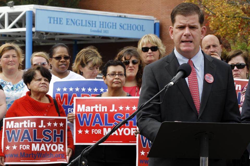 Mayoral candidate Martin Walsh was endorsed by Local 888 of the Service Employees International Union.