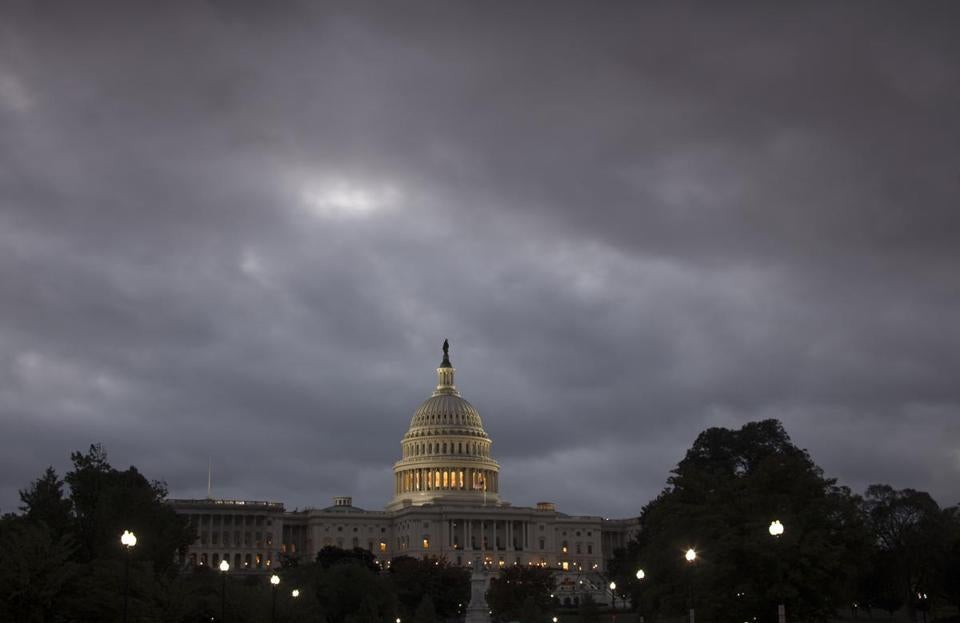 An overcast sky at dawn over the Capitol in Washington, D.C., on Monday.