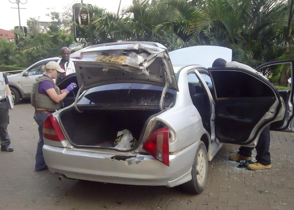 Authorities said the militants used a Mitsubishi Lancer to block the main entrance of the Westgate Mall in Nairobi.