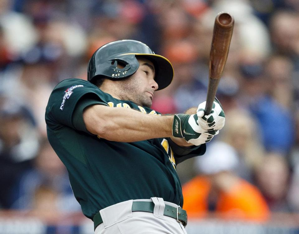 Athletics designated hitter Seth Smith hit a two-run home run in the fifth inning.