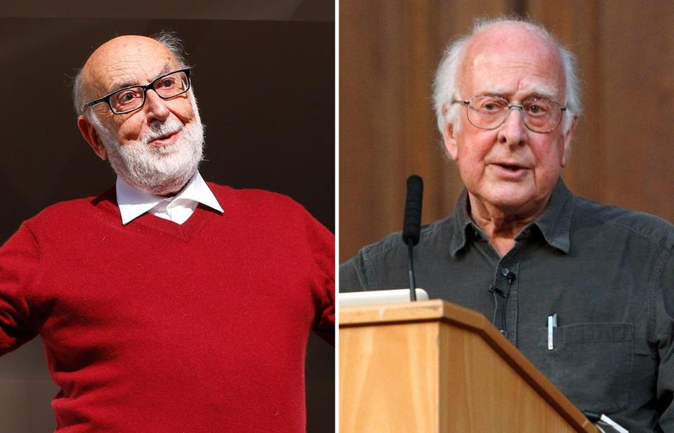 Francois Englert of Belgium (left) and Peter Higgs of Britain won the 2013 Nobel Prize in physics on Tuesday for their theoretical discoveries on how subatomic particles acquire mass.