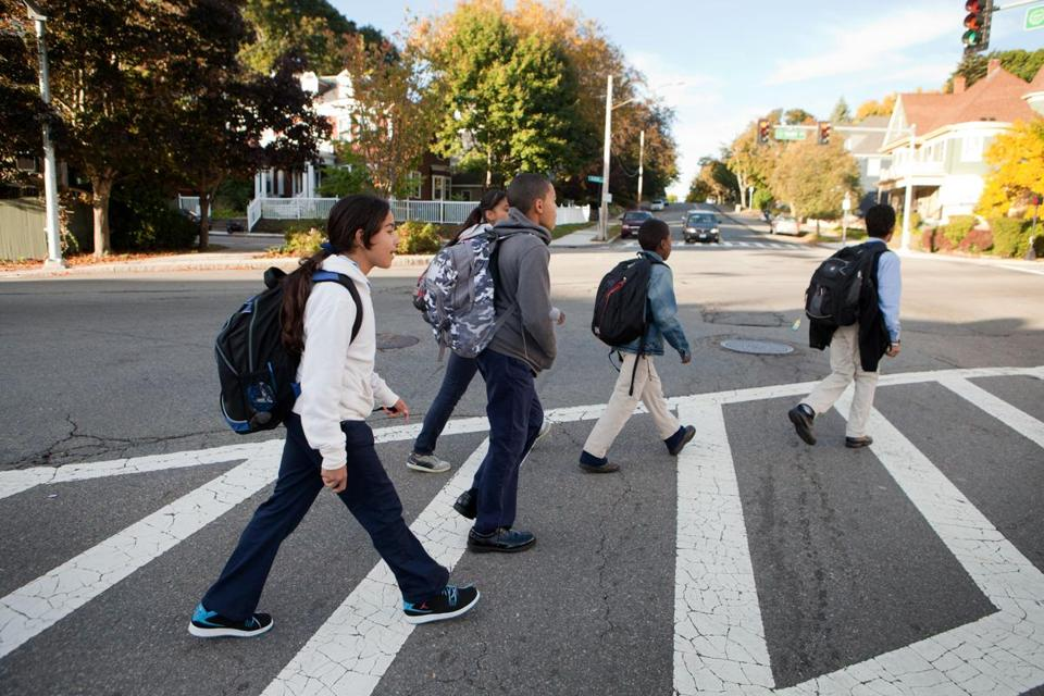 Students walked to the Lucy Stone campus of Roxbury Prep on Tuesday morning.