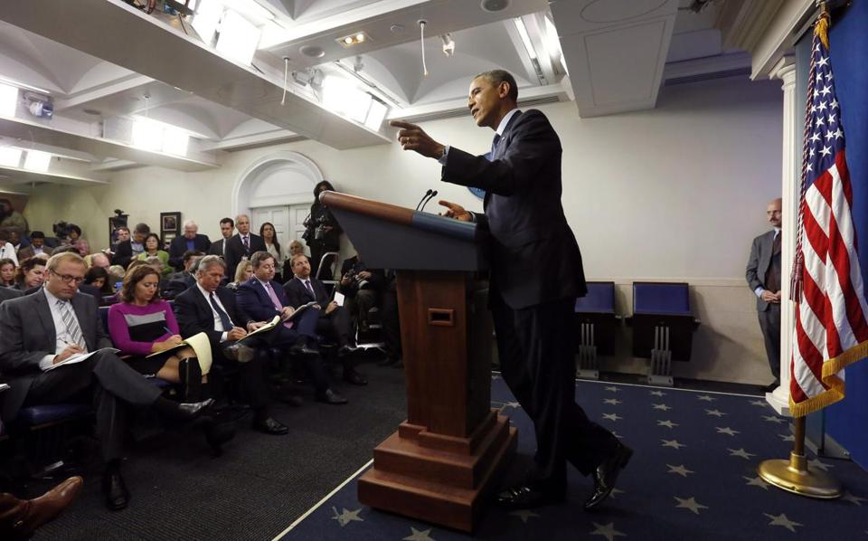 President Obama spoke about the federal government shutdown and looming debt ceiling at the White House on Tuesday.
