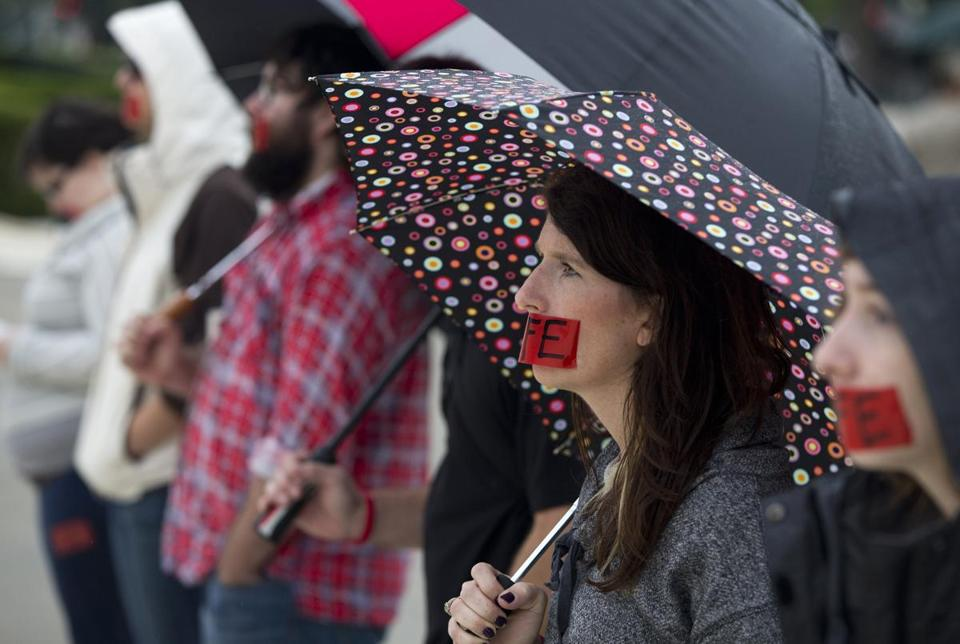 Antiabortion supporter Paige Cofield protested outside the Supreme Court Monday, the first day of the new term.