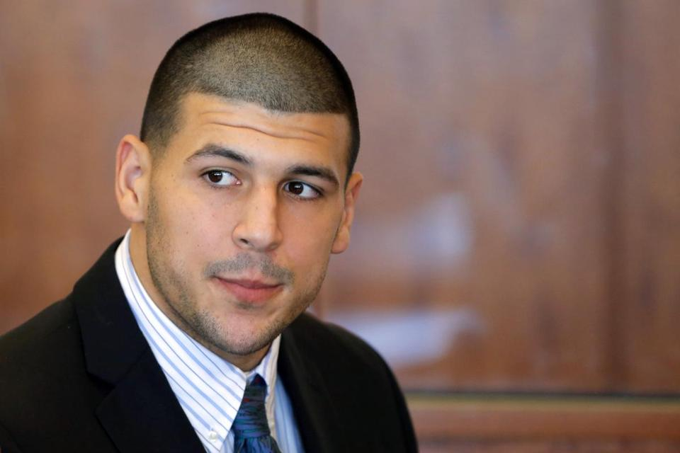 Aaron Hernandez attended a pretrial court hearing in Fall River earlier this month.