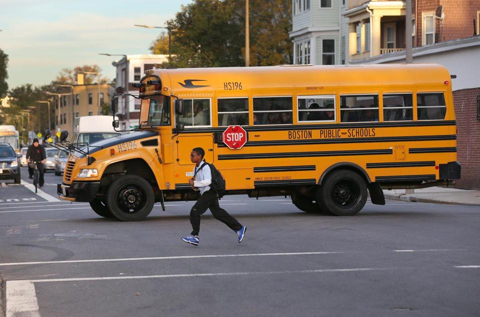 A school bus in Boston on Wednesday.