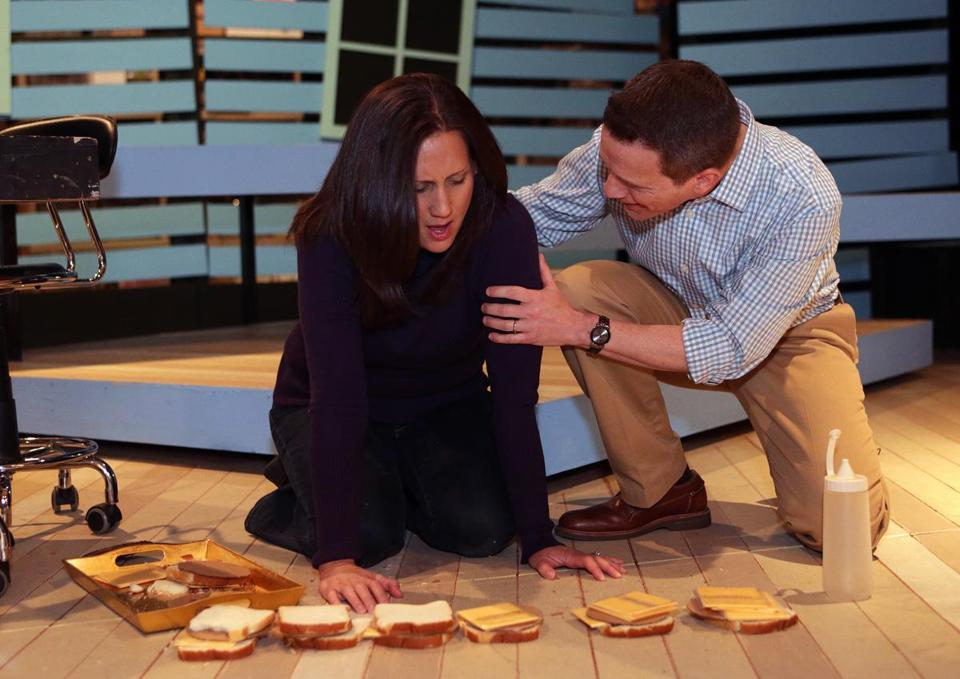 "Lea Oppedisano, as Diana, who has bipolar disorder,  and Bob DeVivo, as Diana's husband, rehearse a scene in ""Next to Normal."""