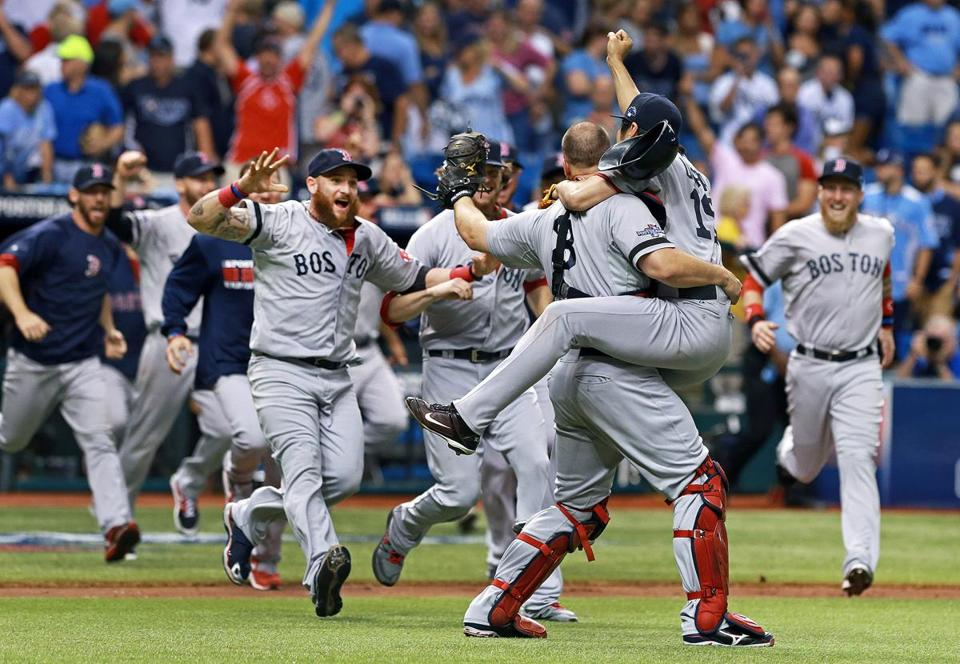 The Red Sox celebrated their series-clinching victory over the Rays.