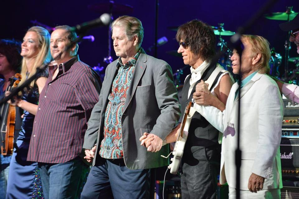 Brian Wilson (center) and Jeff Beck (second from right) found some common ground in their joint performance at the Citi Wang Theatre.