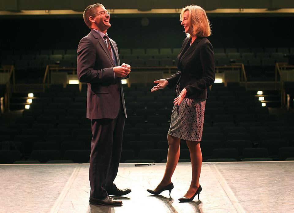 Steve Maler, founder of Commonwealth Shakespeare Company, and Kerry Healey, president of Babson, in the school's theater.