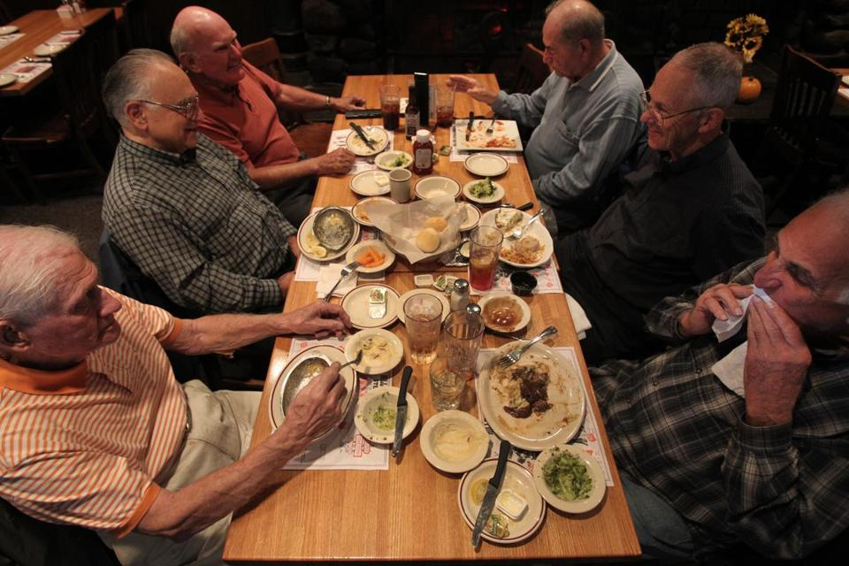 Longtime Hilltop diners (from left) Tom Stillwell of Lynnfield, Joe Serra of Bedford, Klaus Lasch of Andover, Joe Norton of Ashland, Edward Jonson of Hudson, N.H., and Phil Mercurio of Hopkinton enjoy their steaks last week.
