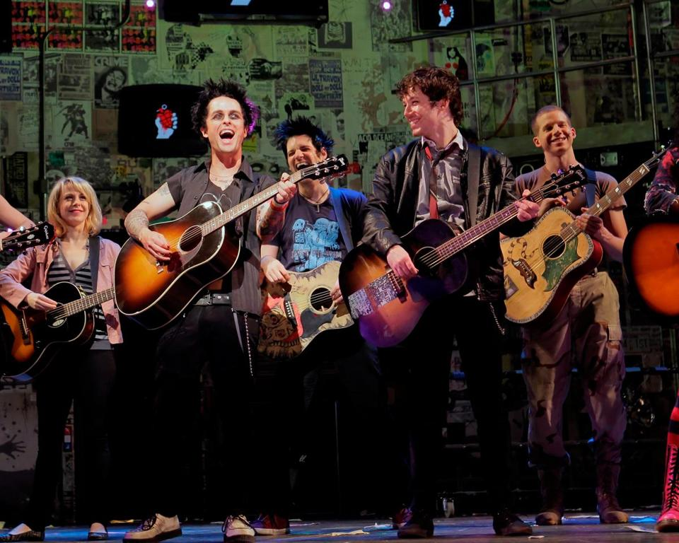 "Billie Joe Armstrong (second from left) in ""Broadway Idiot."""