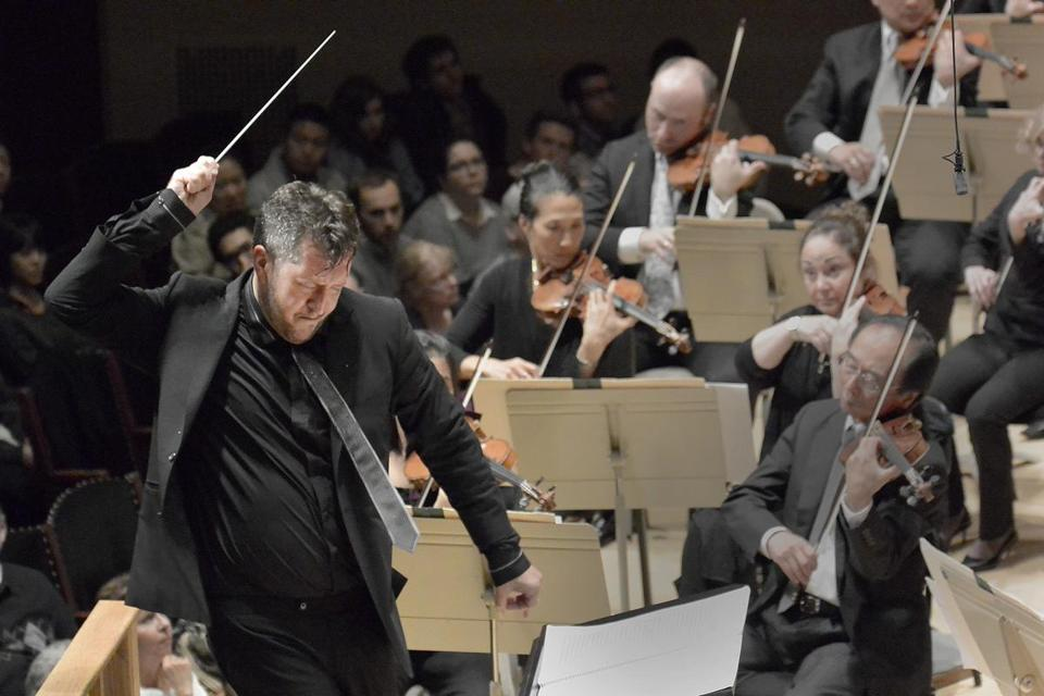 Thomas Adès, pictured guest conducting in 2013, is now the BSO's Artistic Partner.