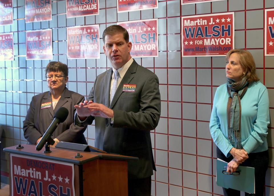 Mayoral hopeful Marty Walsh, with Arline Isaacson (right) of Massachusetts Gay and Lesbian Political Caucus and state Representative Liz Malia, discussed his platform designed to provide 'safe spaces' for gay youth in schools and other sites.