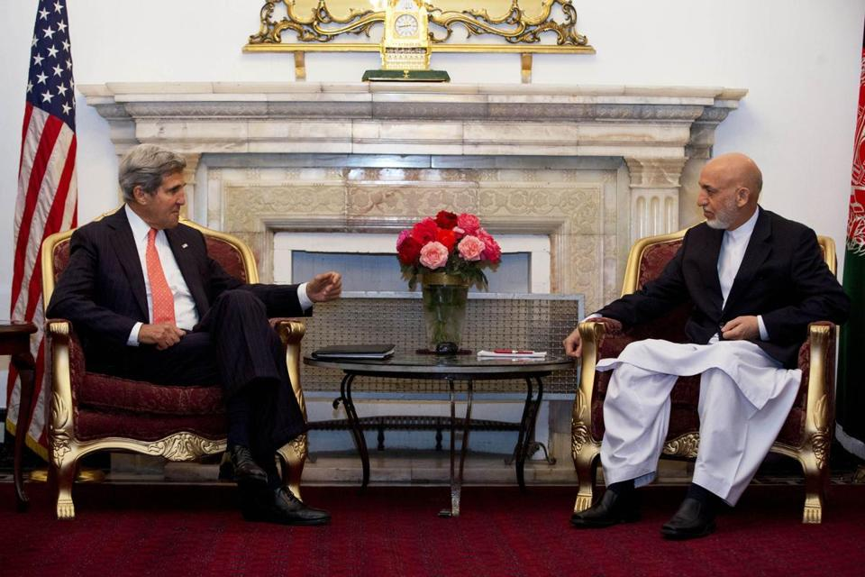 Secretary of State John Kerry arrived in Kabul on Friday to try to break the impasse with President Hamid Karzai.