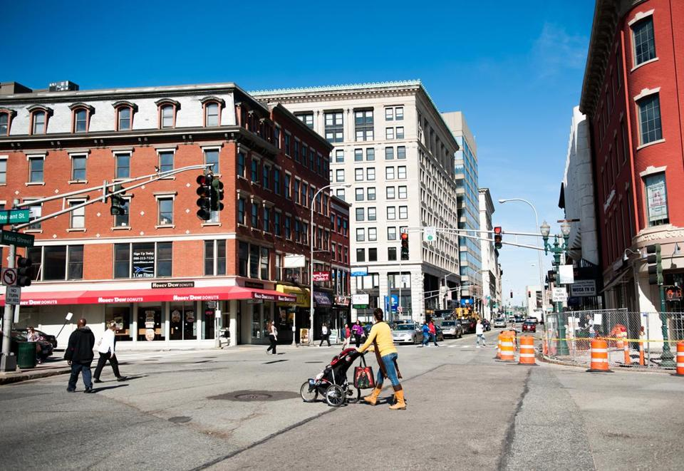 Pedestrians made their way across Main Street in downtown Worcester on Oct. 11, 2013.