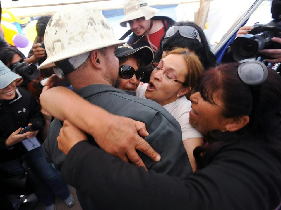 In 2010, rescuers in Chile using an escape capsule pulled  to freedom 33 men who were trapped in a mine 69 days.