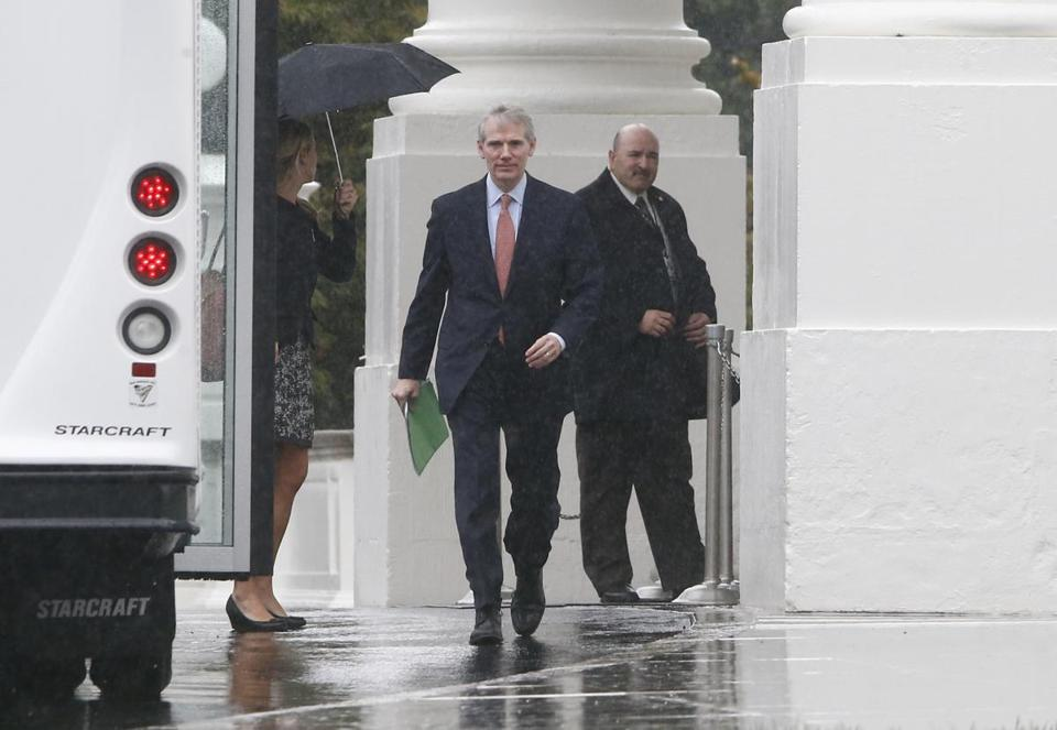Senator Rob Portman, Republican of Ohio, departed the White House on Friday after Republican senators met with President Obama for 90 minutes.