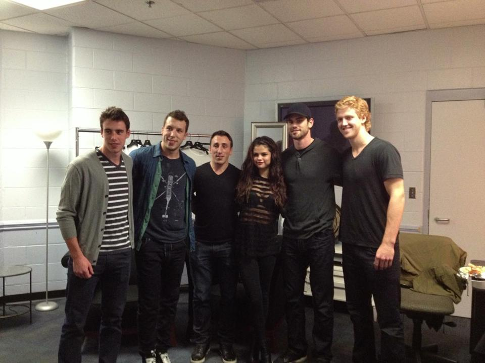 Pictured backstage were (from left) Reilly Smith, Jordan Caron, Brad Marchand, Selena Gomez, Adam McQuaid, and Dougie Hamilton.