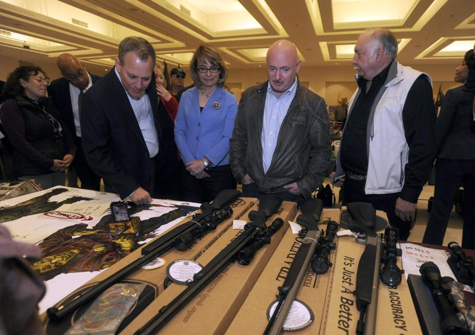Former congresswoman Gabrielle Giffords visited a gun show in New York on Sunday and then offered a plea for an end to firearms violence.