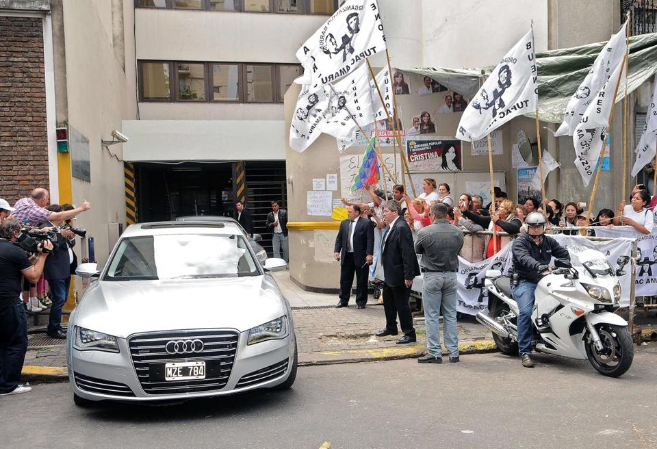 Supporters cheered as President Cristina Fernandez of Argentina left the hospital Sunday after cranial surgery.