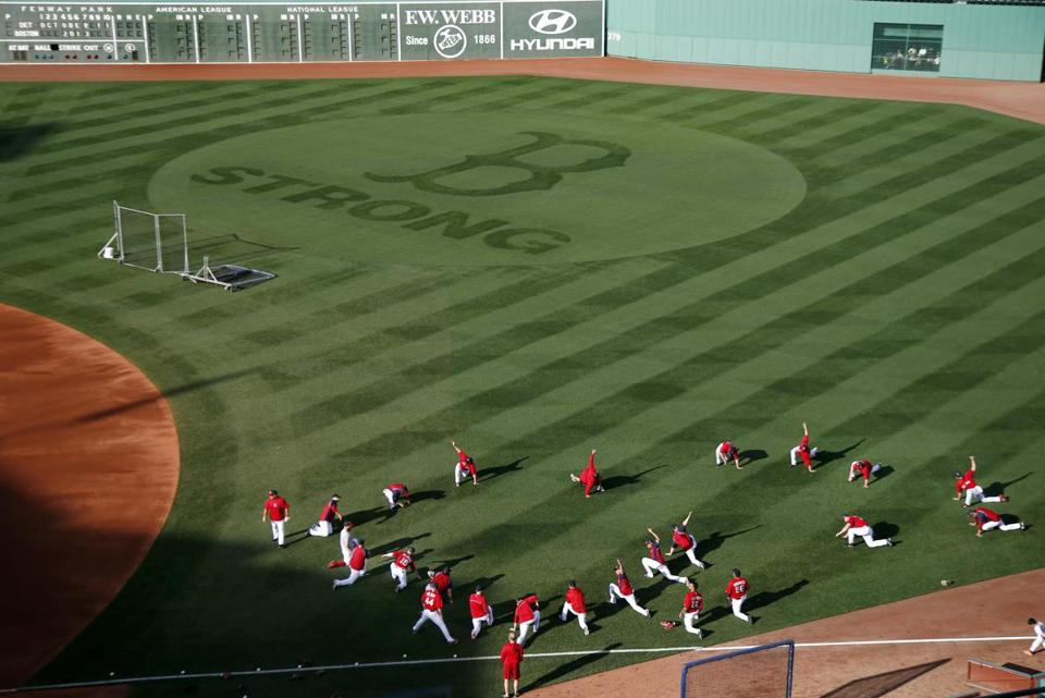 "Fenway Park head groundskeeper Dave Mellor was the lead designer and sculpter for the ""B STRONG"" logo etched into the outfield grass."