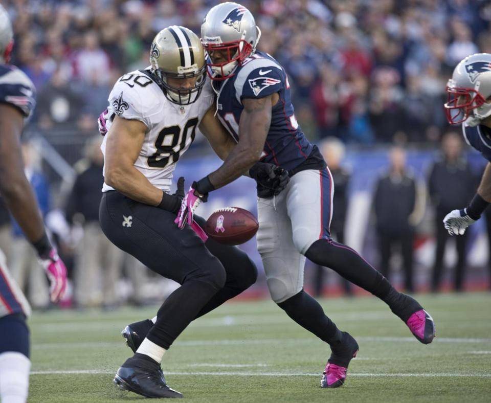 Saints tight end Jimmy Graham was covered well by cornerback Aqib Talib, who broke up this second-quarter pass.