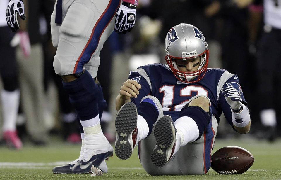 Tom Brady has been sacked 13 times in the last three games, including five times against the Saints.