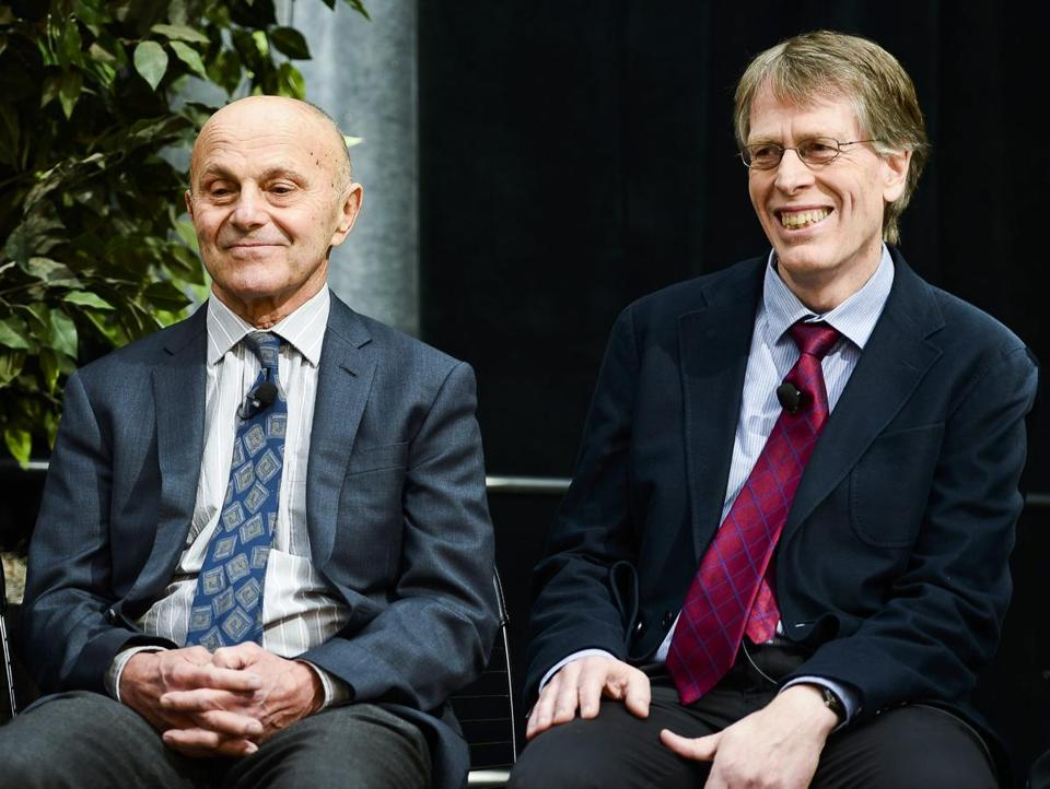 Eugene Fama and Lars Peter Hansen sat together at a news conference after winning the 2013 Nobel prize in Economic Sciences.