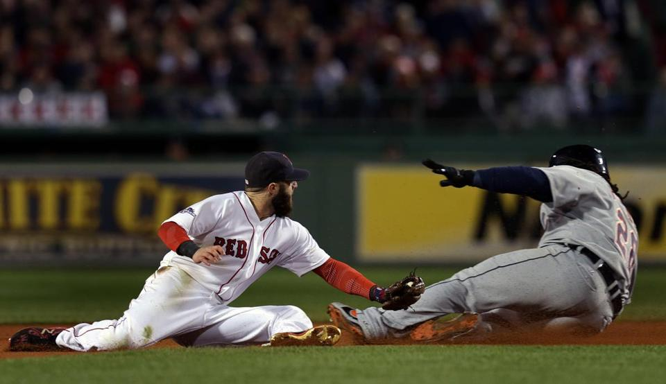 Prince Fielder evaded a tag by Boston Red Sox second baseman Dustin Pedroia during Game 2 of the ALCS.