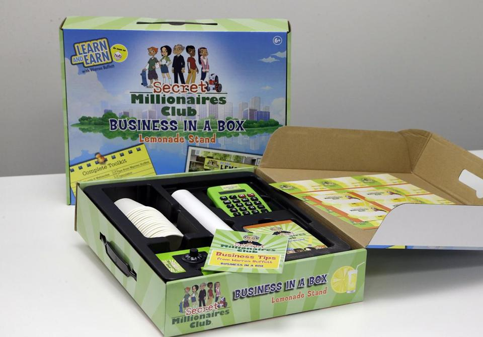 Warren Buffett is backing competing business kits for kids, Business in a Box (above) and one by Kentucky children.